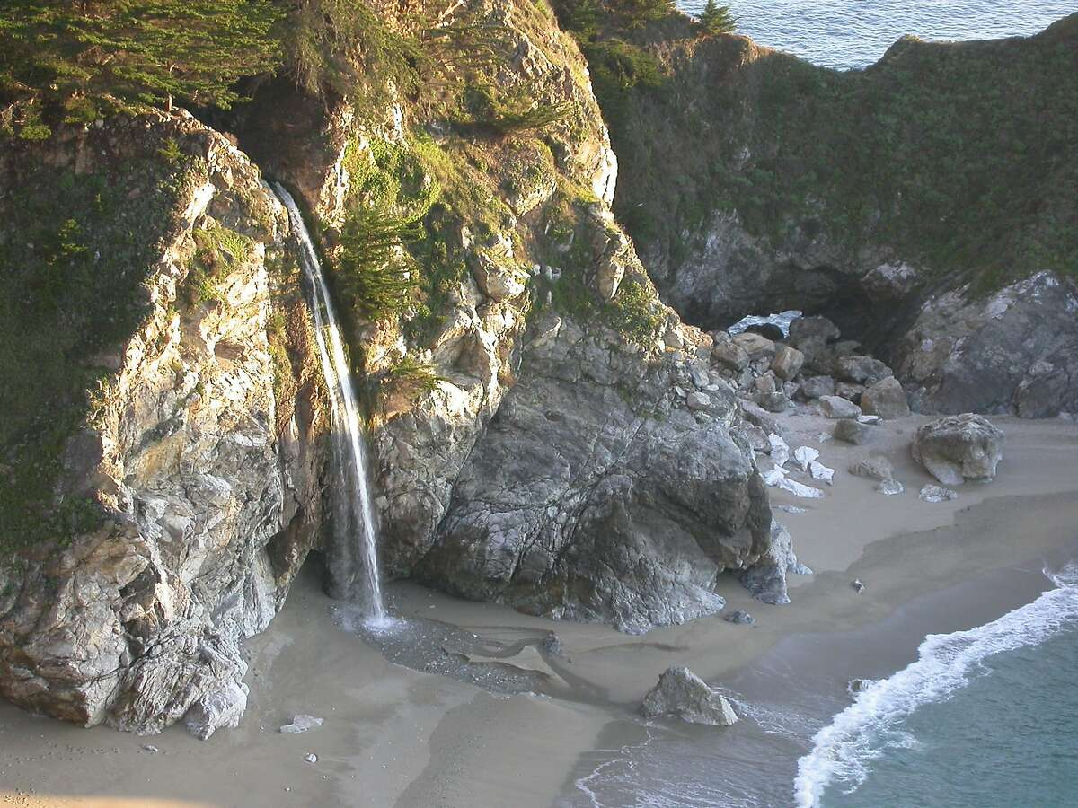 McWay Falls from a cliff-top overlook along Highway 1 just north of the entrance to Julia Pfeiffer Burns State Park in Monterey County