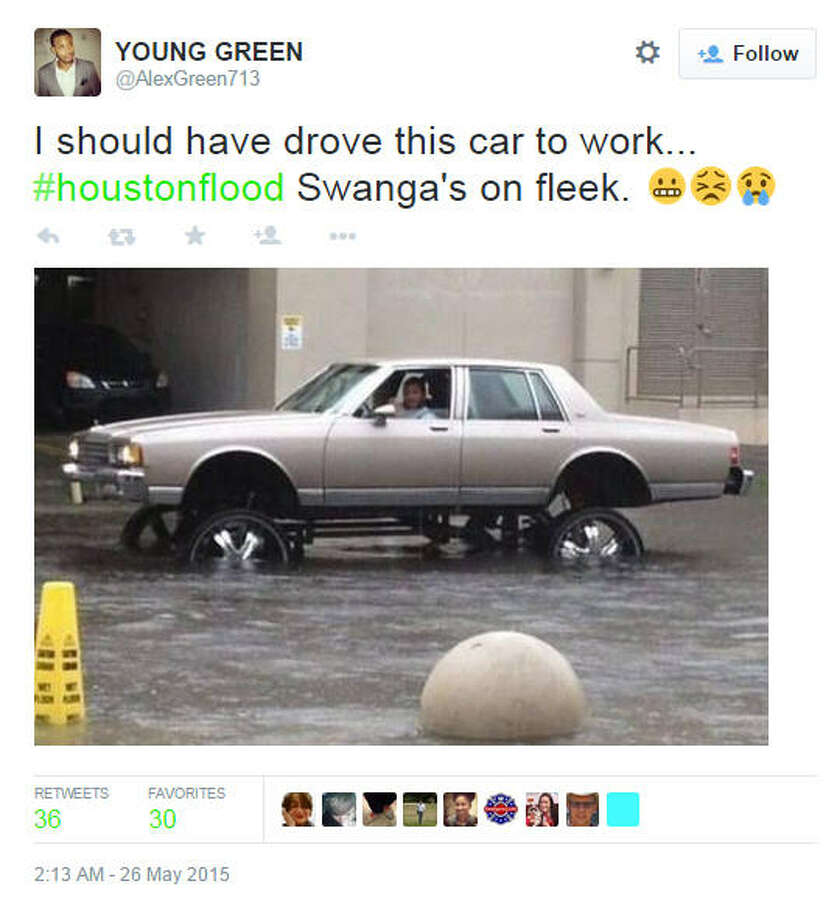 Via Alex Green on TwitterHeavy rains dumped several inches of water on Houston and several bad puns on the internet. Photo: Houston Chronicle