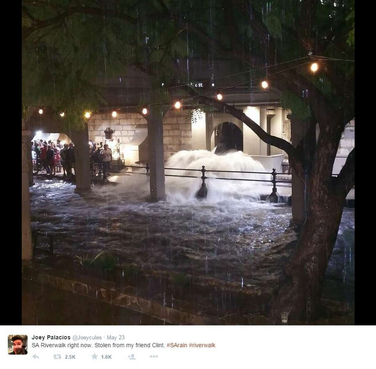 """""""SA Riverwalk right now."""" - @Joeycules River Walk guests watched as water gushed out in front of them Saturday night."""