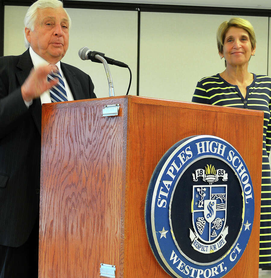 Shelley Somers, the principal of Central Middle School in Greenwich and the finalist for the principal's job at Staples High School, is introduced by Superintendent of Schools Elliott Landon to a public forum at the high school Tuesday morning. Photo: Jarret Liotta / Westport News