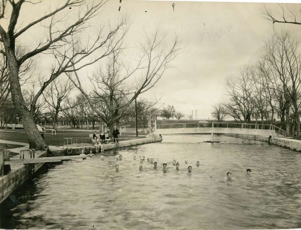 Sewell Park in San Marcos began as a college swimming hole in 1916; it was first named Riverside Park.
