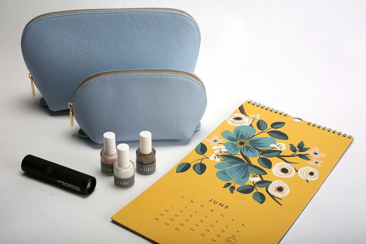 Cuyana's leather travel case with nail polish and blotting papers on the wish list for Style's bridesmaid gift ideas in San Francisco, California, on Tuesday, May 26, 2015.