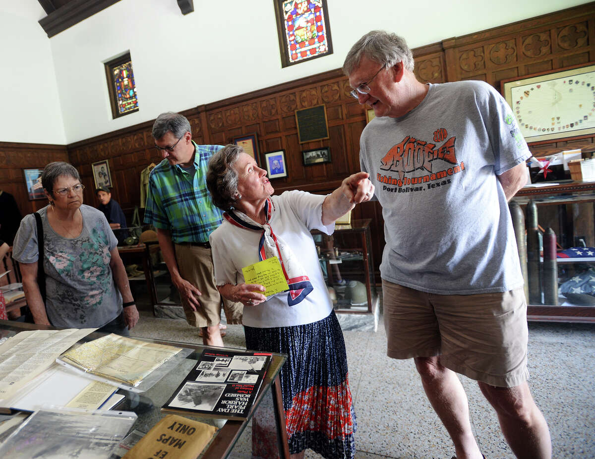 Ida Pyle, center, talks with Allan Nichols, right, as people explore the Temple to the Brave on Monday. The Temple to the Brave in Pipkin Patriots Park opened Monday afternoon in honor of Memorial Day. Photo taken Monday 5/25/15 Jake Daniels/The Enterprise