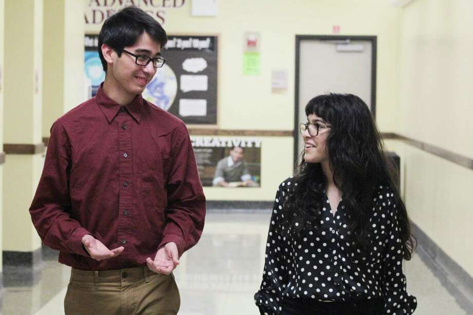 """Sopia Reyes  and her brother Diego are savoring their approaching graduation from Reagan High School and are proud of the high grades they earned. """"It's been a pretty rough road to get where I am now,"""" Sophia Reyes said. Photo: Jimmy Loyd / freelance"""