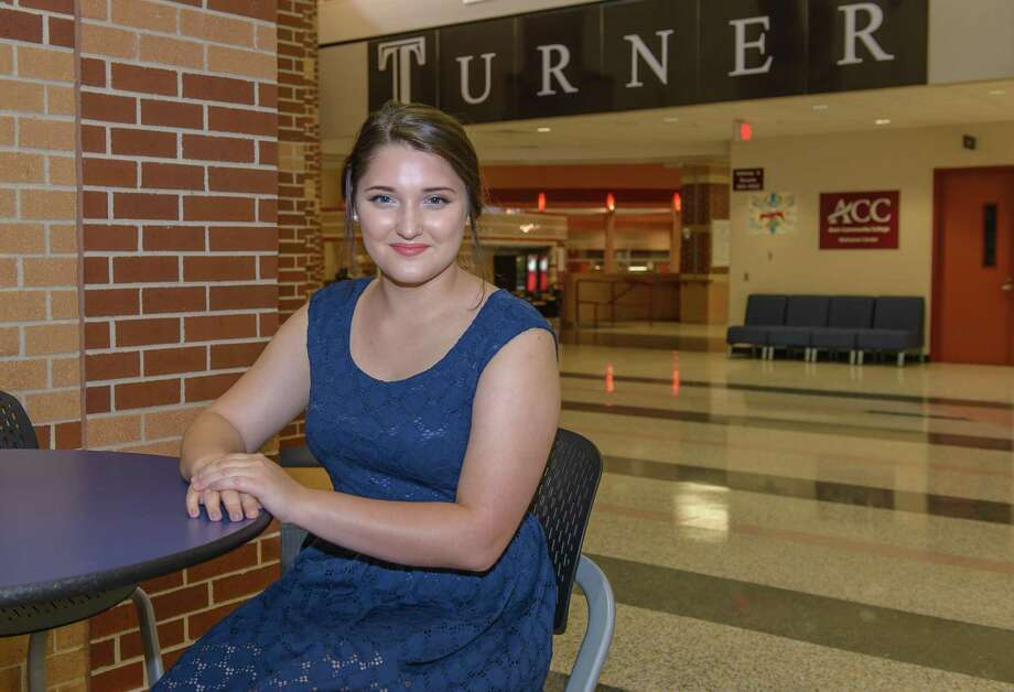 """Graduating Turner High School senior Emma Vorholt has earned an associate's degree from Alvin Community College but said the degree wasn't the goal. """"I just wanted to take college classes,""""  Vorholt says. She's been active on the Turner's speech-and-debate club and did the makeup for the monster in Pearland High School's production of """"Frankenstein."""" Photo: ÂKim Christensen, Photographer / ©Kim Christensen"""