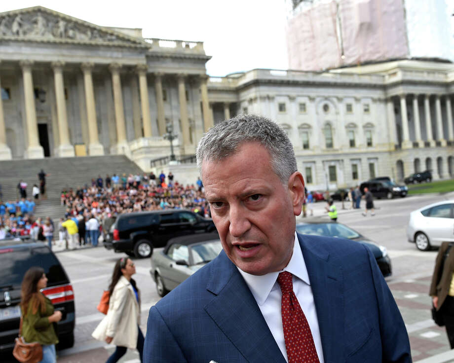 New York City Mayor Bill de Blasio speaks to reporters on Capitol Hill in Washington, Wednesday, May 13, 2015. Photo: Susan Walsh, AP Photo/Susan Walsh / Associated Press