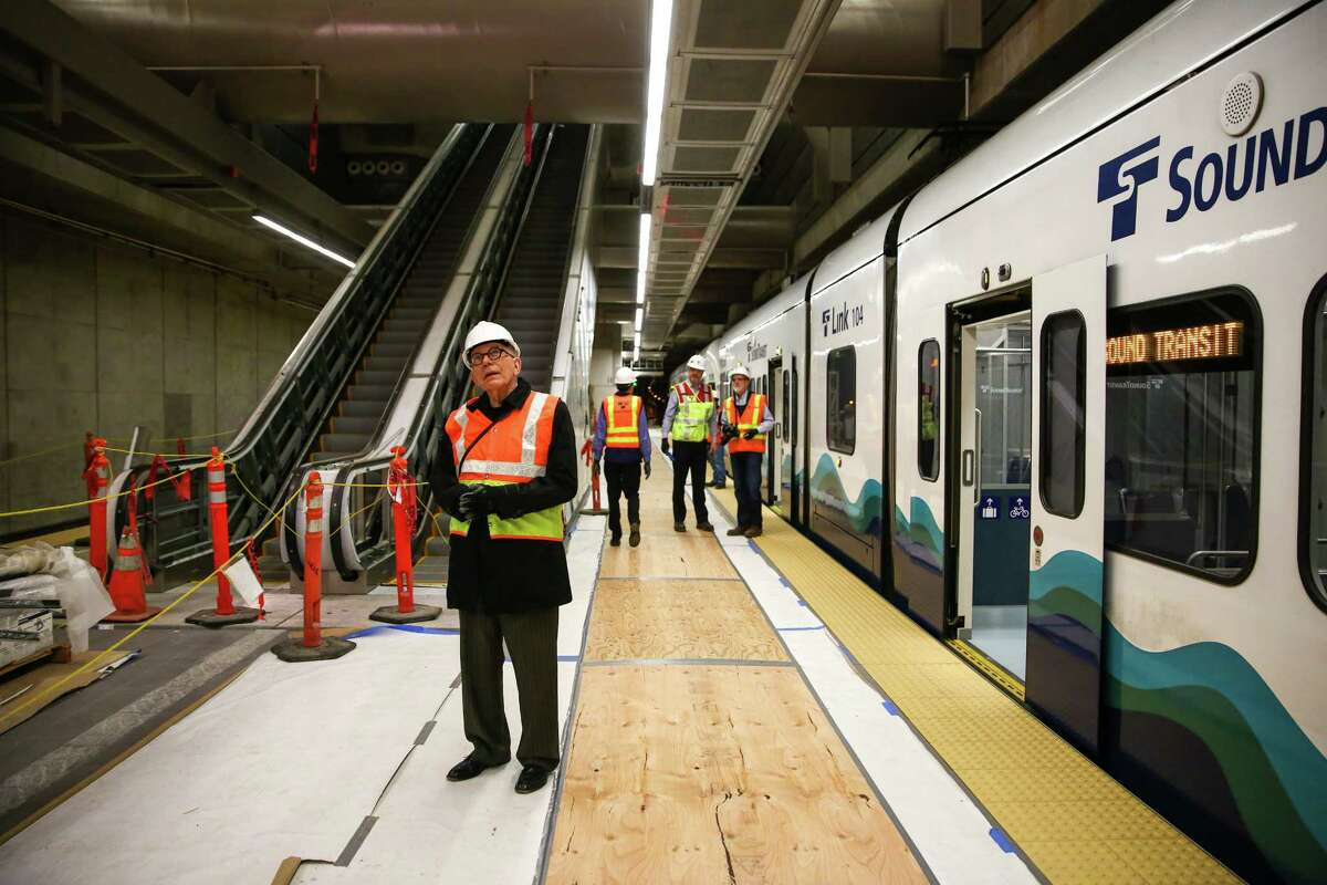 Visitors explore the Capitol Hill Link light rail station during a tour of the under construction facility. The station is scheduled to be completed later this year with light rail service starting in 2016.