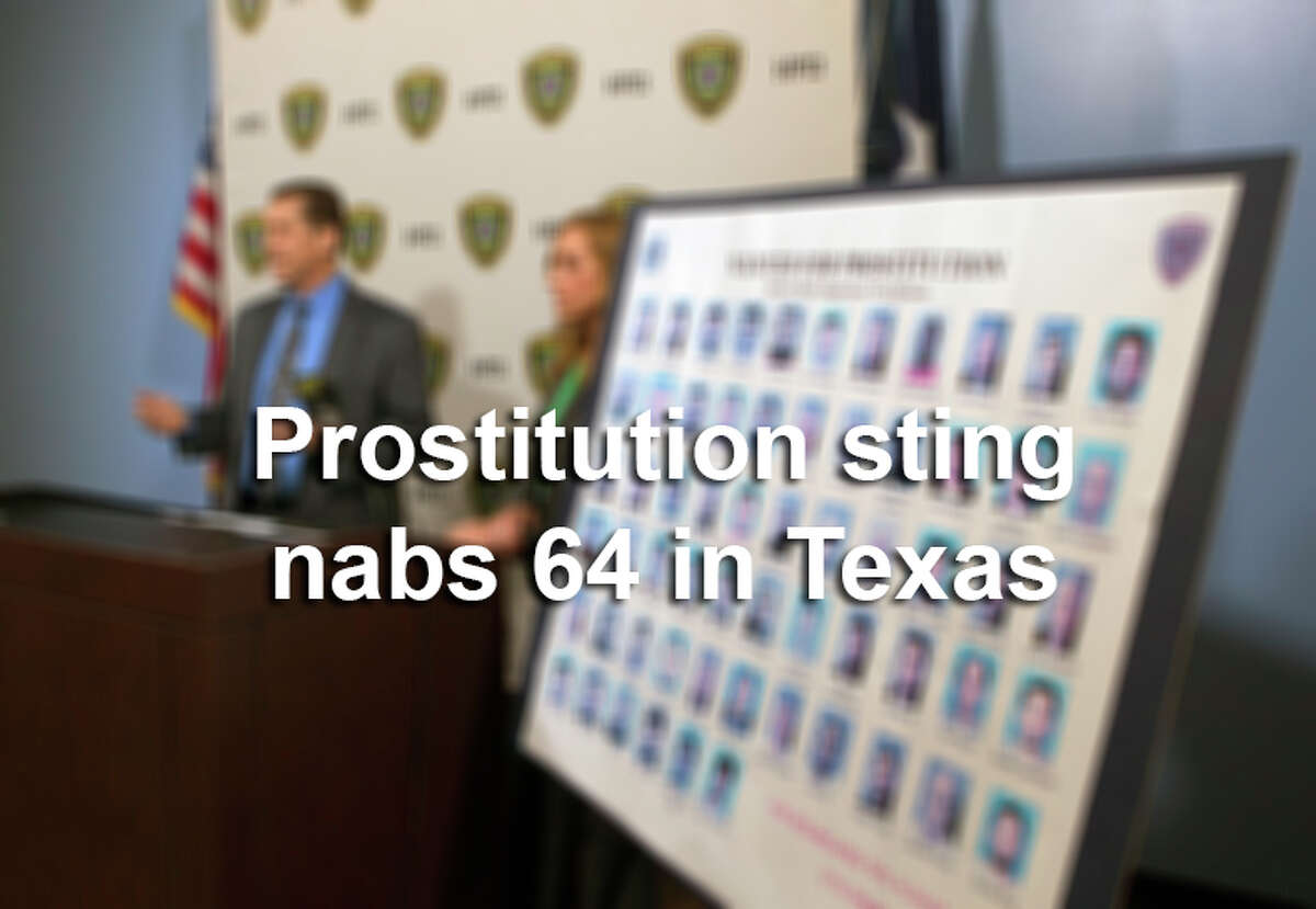 RELATED: Prostitution sting nabs 64 in Houston More than 60 men have been snared in a sting operation as they allegedly tried to pay for sex earlier this year at a bogus modeling studio police opened in the Houston area. Full story: Sex sting nabs 64 in Houston