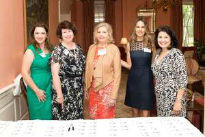 Darcy Martin Gagnon, Delta Gamma, Kathy Morin, Delta Gamma, Lorie Coffelt, Alpha Delta Pi, Lisa Gregory, Delta Gamma, Sandy Lee Dean, Phi Mu at  The Houston Alumnae Panhellenic Association and Foundation 29th annual Scholarship Luncheon May 7 at the Junior League of  Houston.