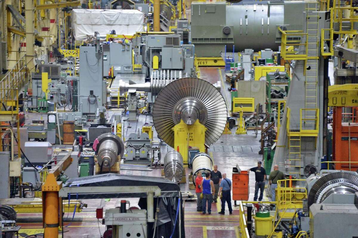 Low pressure steam turbine rotors being completed in building 273's 1/4 mile long G Bay at GE's main plant Tuesday May 26, 2015 in Schenectady, NY. (John Carl D'Annibale / Times Union)