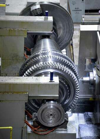 A low pressure steam turbine rotor being machined in building 273's 1/4 mile long G Bay at GE's main plant Tuesday May 26, 2015 in Schenectady, NY.  (John Carl D'Annibale / Times Union) Photo: John Carl D'Annibale / 00031999A