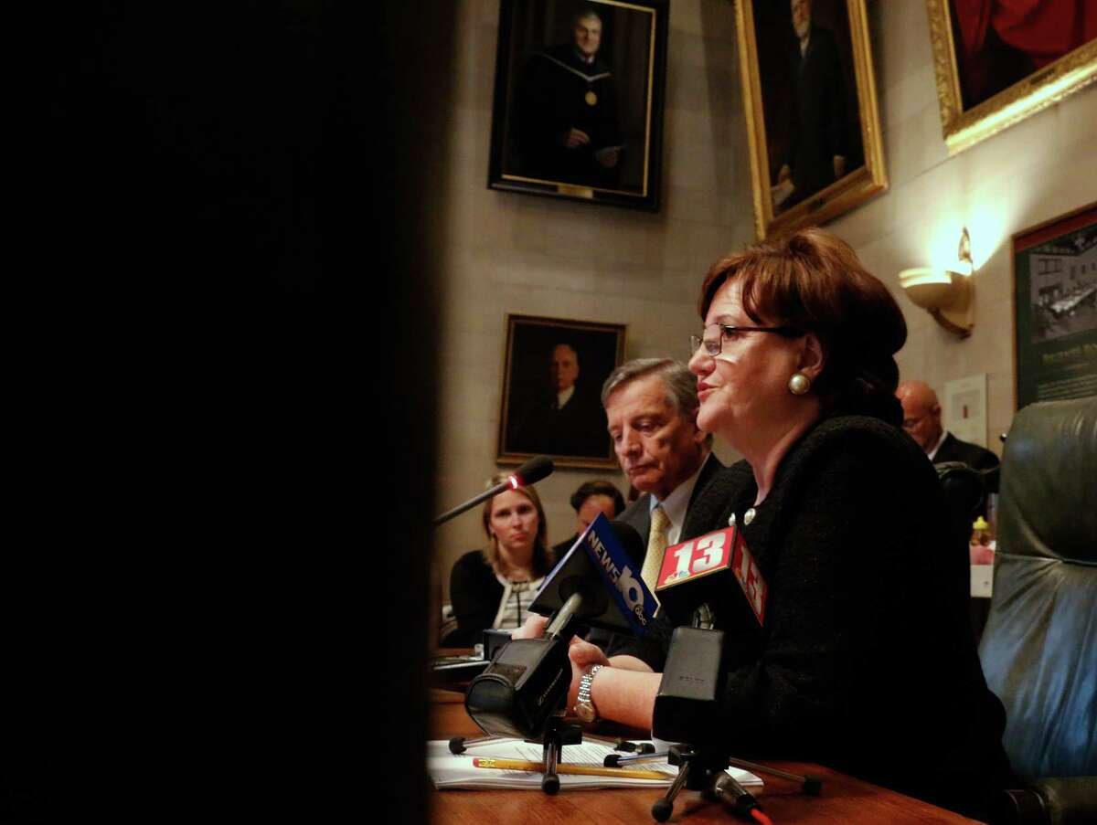 MaryEllen Elia, former Hillsborough County, Fla. school Superintendent, speaks during a press conference where she was named as the state's new Education Commissioner Tuesday, May 26, 2015, at the State Education Building in Albany, N.Y. (Olivia Nadel/ Special to the Times Union/ archive)