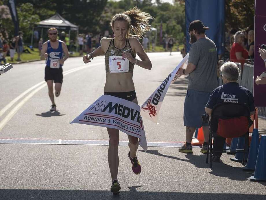 Hannah Davidson is shown winning the Highland Hospital Lilac 10K in Rochester earlier this month. (Jeff Witherow / Special to the Times Union)