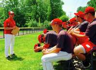 Sacred Heart University baseball coach Nick Giaquinto talks to his team about traveling to Texas for the NCAA tournament. The Pioneers will face Texas Christian University on Friday in Fort Worth. Stony Brook and North Carolina State are also in the TCU regional. SHU is making its third appearance in the NCAA tournament in the last five years.