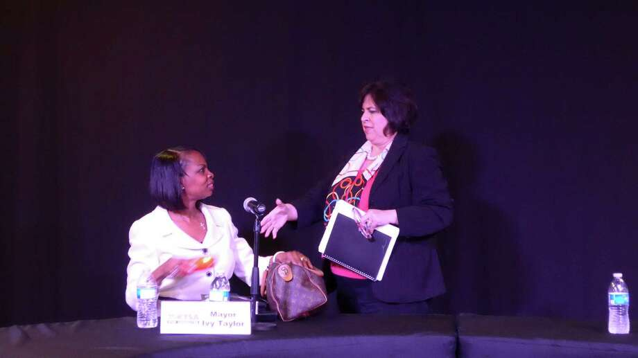 Mayor Ivy Taylor, left, and candidate Leticia Van de Putte, participate in a forum broadcast from KTSA radio, ahead of the June 13 runoff. Photo: John W. Gonzalez, Staff / San Antonio Express-News / San Antonio Express-News