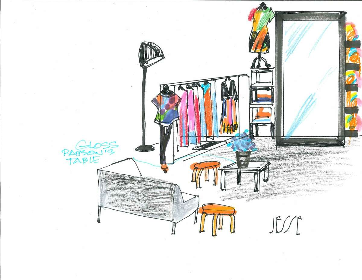 A sketch of the Simple Pair portion of the Fashion Incubator San Francisco pop-up shop in Westfield San Francisco Centre, opening May 28, 2015.