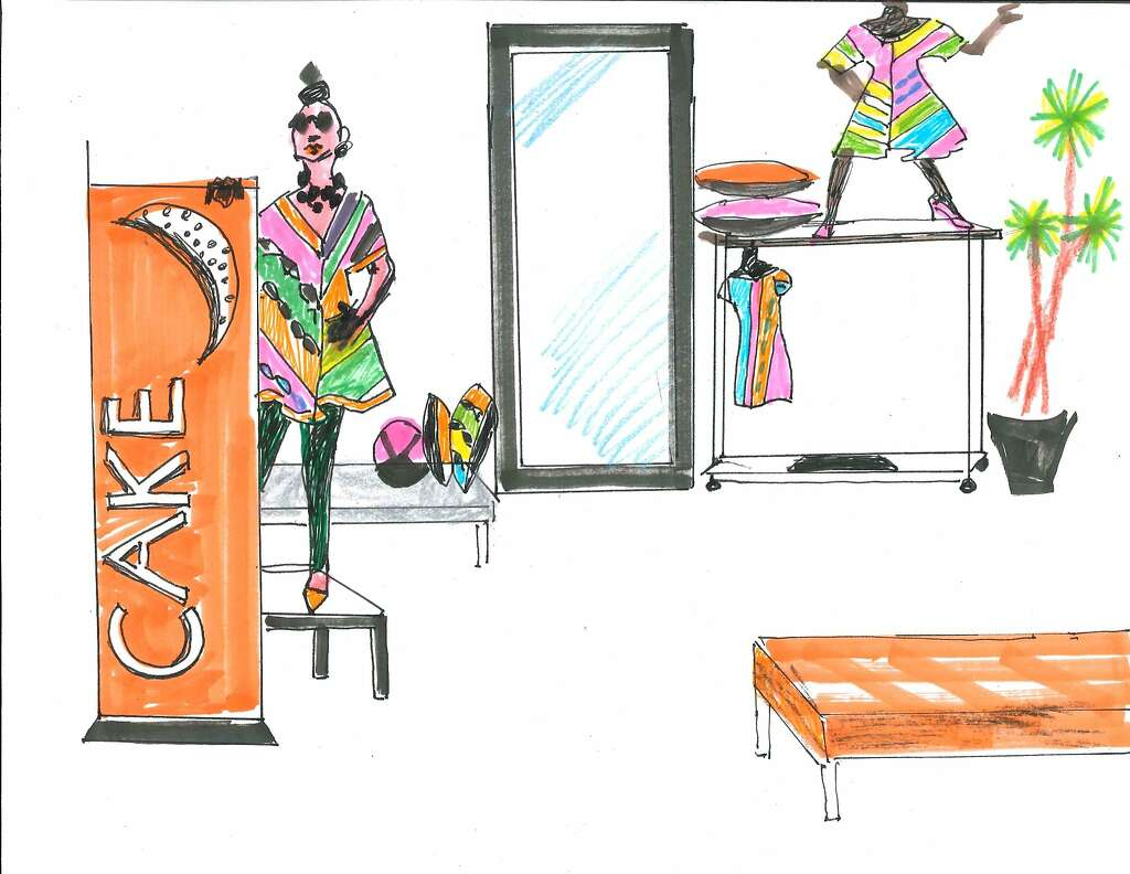 A sketch of the Kajan Cake portion of the Fashion Incubator San Francisco pop-up shop in Westfield San Francisco Centre. Photo: Kajan Cake