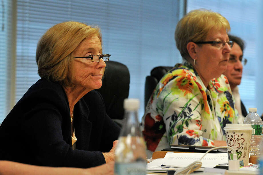 Schools Superintendent Winifred Hamilton, left, announced on Tuesday that she would retire on Jan 1. Photo: Jason Rearick / Stamford Advocate