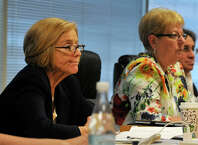 Schools Superintendent Winifred Hamilton, left, announced on Tuesday that she would retire on Jan 1.