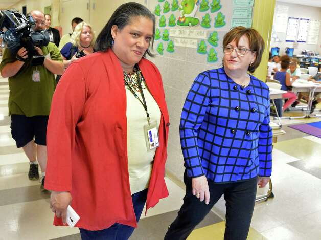 Albany City Schools Superintendent Marguerite Vanden Wyngaard and newly appointed NYS Education Commissioner Maryellen Elia, right, tour Pine Hills Elementary School Wednesday May 27, 2015 in Albany, NY.  (John Carl D'Annibale / Times Union) Photo: John Carl D'Annibale / 00032035A