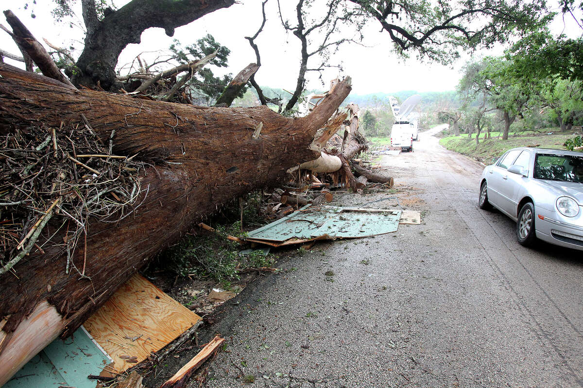 A five foot thick tree lays on the roadside on the north bank of the river as clean up continues in Wimberley after devastating flooding of the Blanco River with Texas National Guard troops still assisting with search and rescue on May 27, 2015.