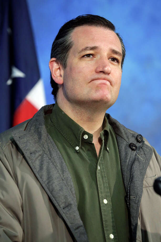 Senator Ted Cruz speaks at the San Marcos Police Department after taking a tour of flood devastation in the area on May 27, 2015. Photo: Tom Reel, San Antonio Express-News