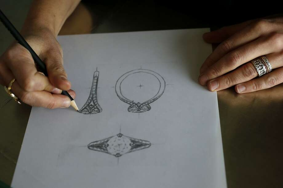 Ashley Berman, of Ashley Morgan Designs, specializes in custom bridal jewelry from her office near Union Square in San Francisco. After meeting with a client, she draws sketches based on their stories and interests. Photo: Brant Ward, The Chronicle