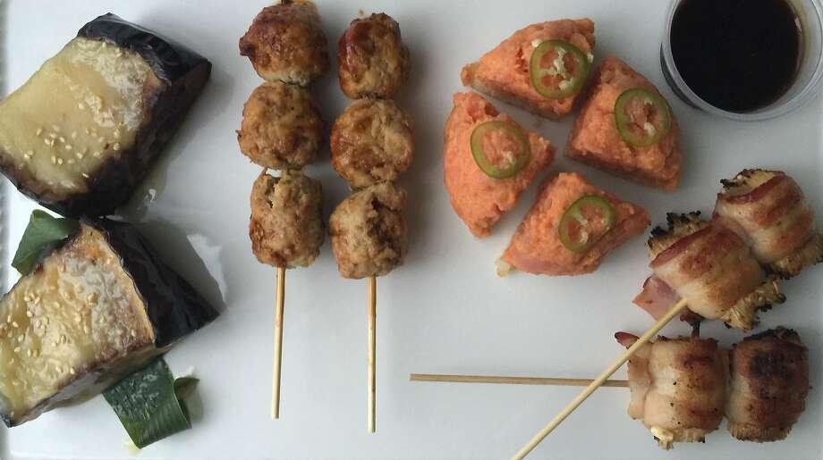 Spicy tuna on crispy rice, skewers and glazed eggplant from Izakaya Sozai, delivered by OrderAhead Photo: Amanda Gold