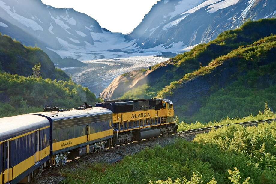 An Alaska Railroad train passes the Bartlett Glacier on the Kenai Peninsula. Photo: Glenn Aronwitz, Alaska Railroad