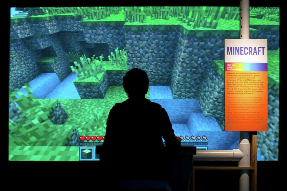 Adnan Agha plays Minecraft at the Museum of the Moving Image in New York. Photo: Karsten Moran /New York Times / NYTNS