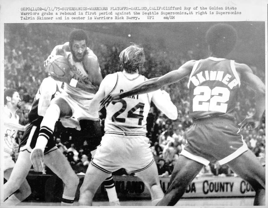 Golden State Warriors beat the Washington Bullets  to win the  NBA championship in 1975 Clifford Ray  (44) Clifford Ray battles for the ball against the Seattle Supersonics in the playoffs  UPI photo  Photo ran 04/16/1975, p. 40