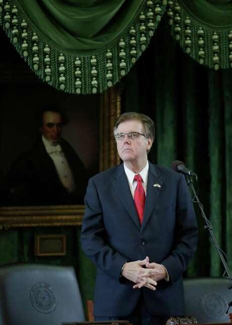 Texas Lt. Gov. Dan Patrick works in the Senate Chamber. (AP Photo/Eric Gay) Photo: Eric Gay, STF / AP