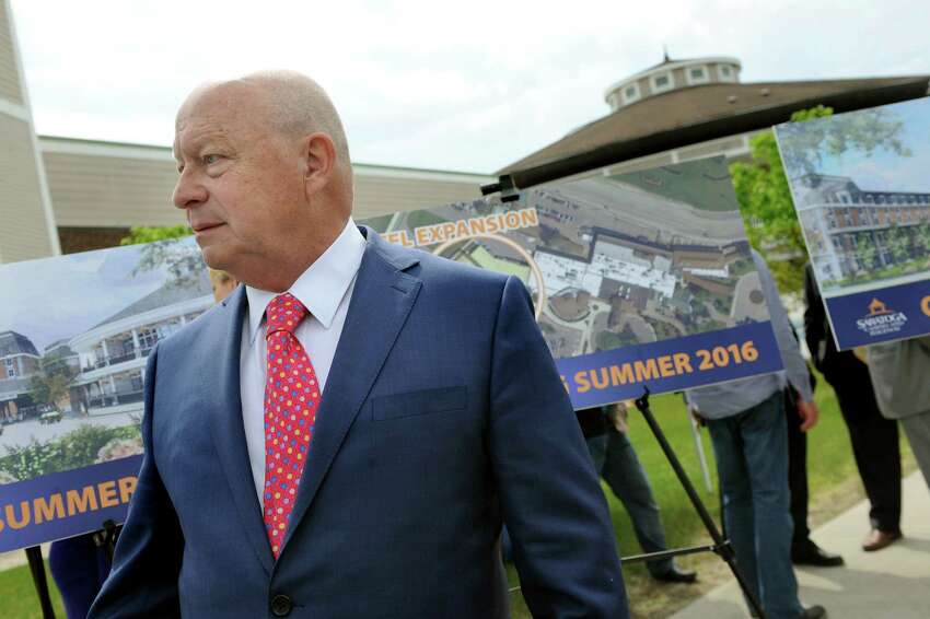 Jim Featherstonhaugh, secretary of the board of directors, during a ceremony to break ground for a $34 million hotel expansion on Wednesday, May 27, 2015, at Saratoga Casino and Raceway in Saratoga Springs, N.Y. (Cindy Schultz / Times Union)