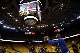 Golden State Warriors' Leandro Barbosa shoots jump shots before playing Houston Rockets in Game 5 of NBA Playoffs' Western Conference Finals at Oracle Arena in Oakland, Calif., on Wednesday, May 27, 2015.