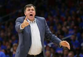 LOS ANGELES, CA - MAY 10:  Head caoch Kevin McHale of the Houston Rockets complains to a referee against the Los Angeles Clippers during Game Four of the Western Conference semifinals of the 2015 NBA Playoffs at Staples Center on May 10, 2015 in Los Angeles, California.  The Clippers won 128-95.  NOTE TO USER: User expressly acknowledges and agrees that, by downloading and or using this photograph, User is consenting to the terms and conditions of the Getty Images License Agreement.  (Photo by Stephen Dunn/Getty Images)