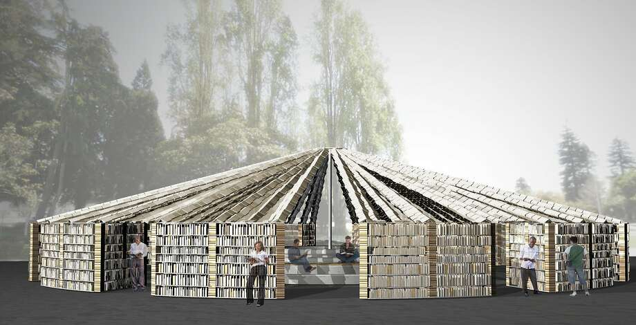 Lacuna, a giant circular temple of books, 50 feet in diameter and built of 50,000 volumes, will be a centerpiece of the Bay Area Book Festival.