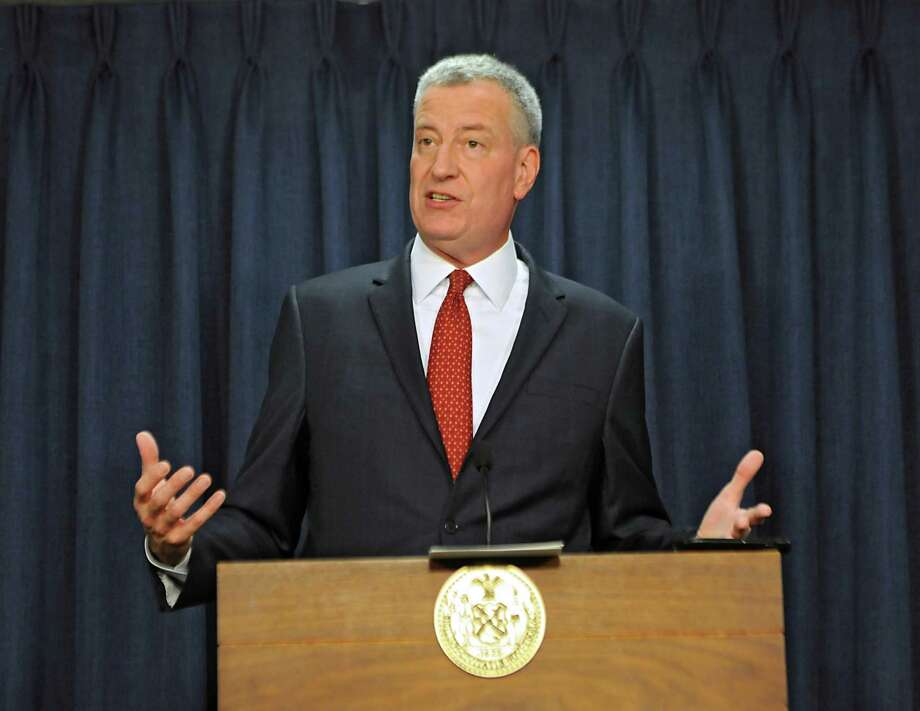 New York City mayor Bill de Blasio talks about rent control and the 421a plan during a press conference in the Legislative Office Building on Wednesday, May 27, 2015 in Albany, N.Y. (Lori Van Buren / Times Union) Photo: Lori Van Buren / 00032037A
