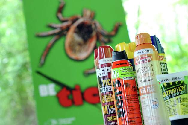 Insect repellents to help ward off ticks on Wednesday, May 27, 2015, at Veterans Memorial Park and Moone in Ballston Lake , N.Y. (Cindy Schultz / Times Union) Photo: Cindy Schultz / 00032020A
