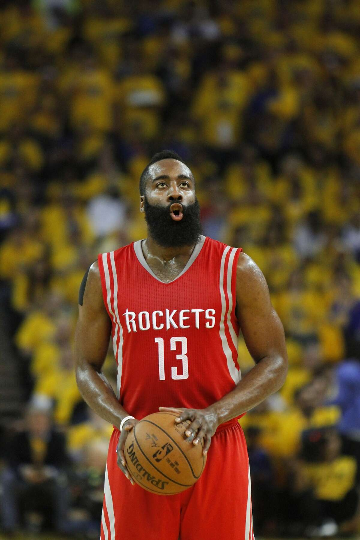 James Harden prepares for a free throw in the first quarter of game 5 on Wednesday, May 27, 2015 in Oakland, Calif.