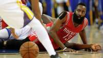 James Harden, losing control during the first quarter, battled ball security issues during Wednesday night's Game 5 as the Rockets guard committed 13 turnovers to set a record for a playoff game.