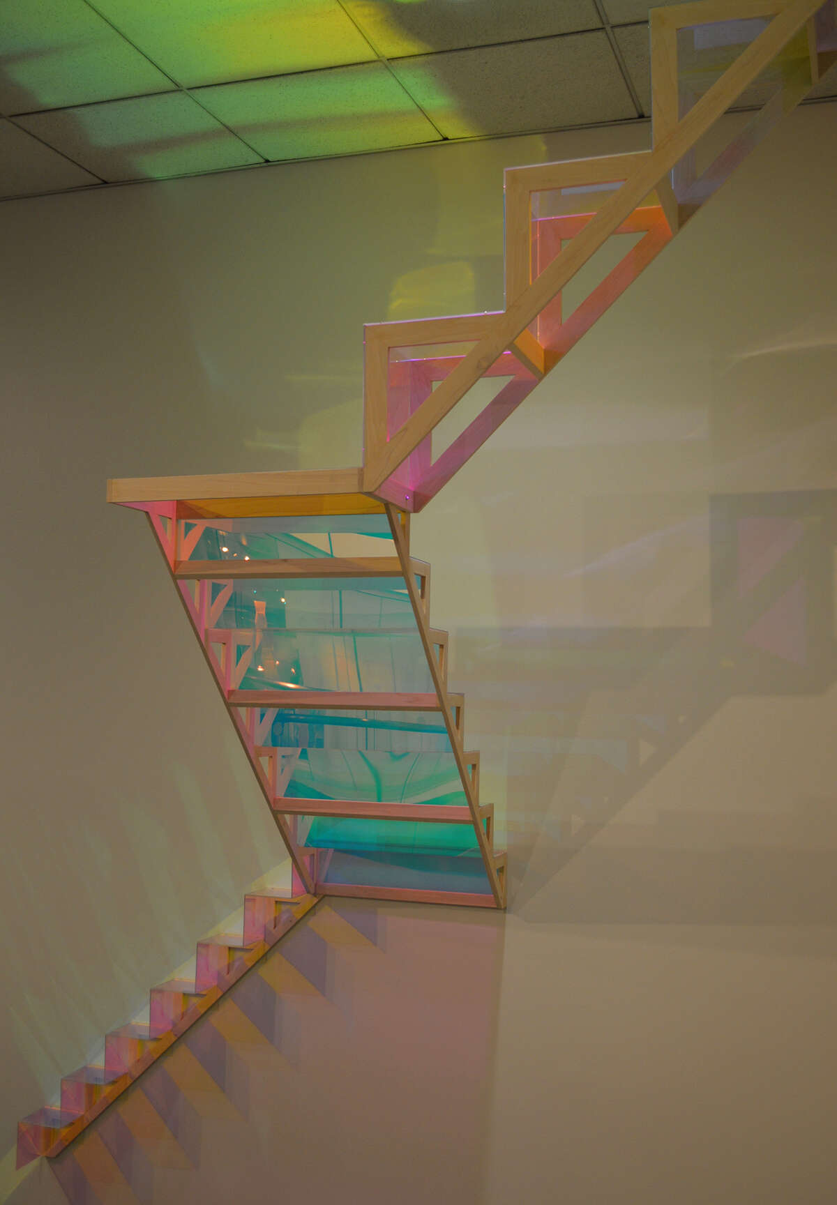 Palermo, Up and Down, wood, cast acrylic, dichroic film, 2015 (this is a site-specific installation that will remain in place for 2-3 years)