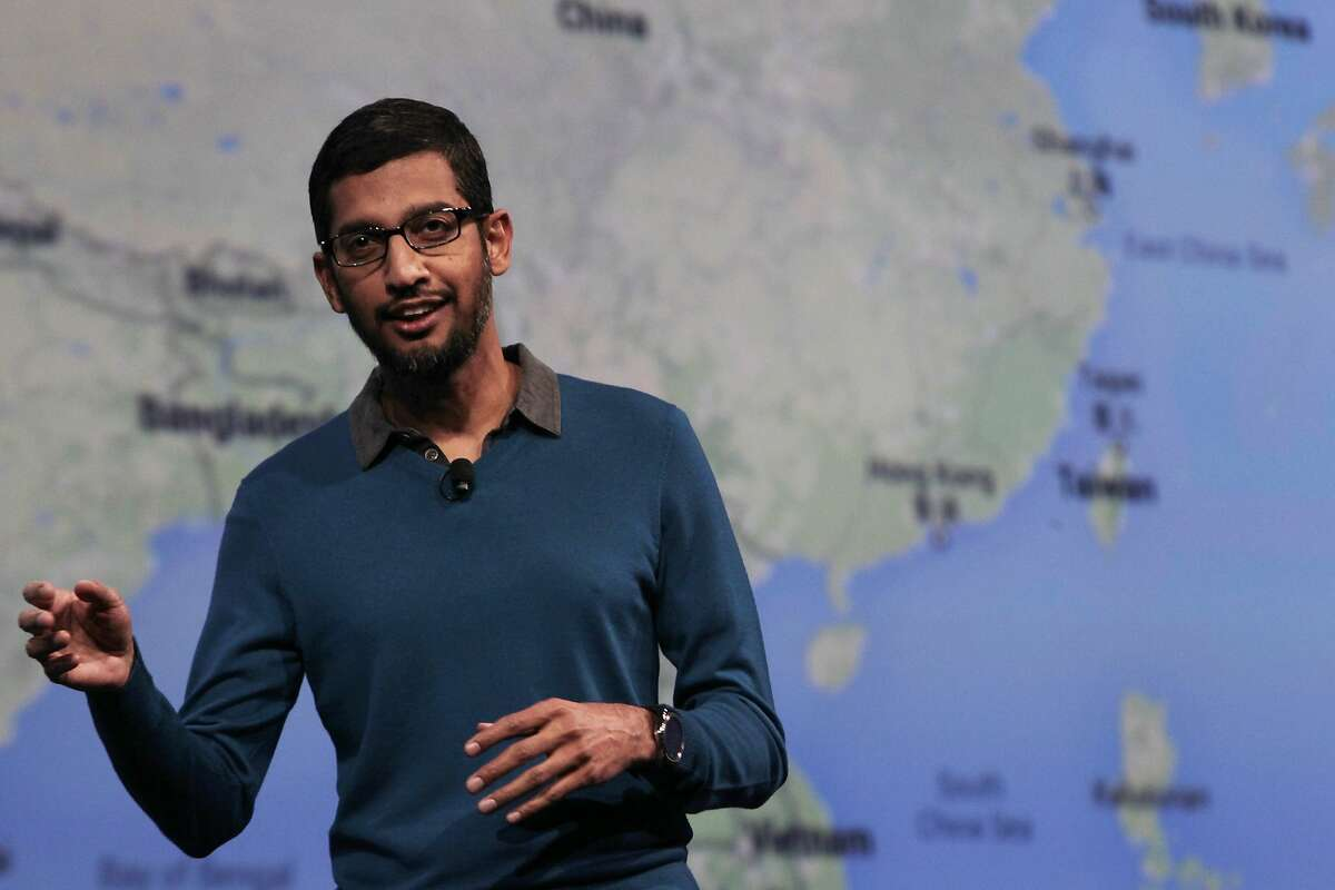 Senior Vice-President of Products, Sundar Pichai delivers the Google I/O 2015 keynote at Moscone West on Thursday, May 28, 2015 in San Francisco, Calif.