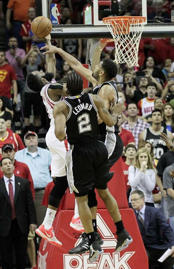 Worst No. 5: Swept by the Spurs  The Rockets appeared to be headed for a No. 6 seed in the playoffs after they were swept in a home-and-home set by the defending champion Spurs. In the April 10 finale at Toyota Center, James Harden's layup was blocked by Tim Duncan during the dying seconds to seal San Antonio's 104-103 victory. Photo: Bob Levey, Associated Press