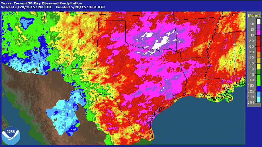Here is the one-month rainfall for Texas from April 28, 2015-May 28, 2015. The darkest purple areas got hit with 15-20 inches of rain. Photo: NOAA
