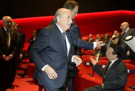 FIFA President Sepp Blatter arrives for the opening ceremony of the FIFA congress in Zurich, Switzerland, Thursday, May 28, 2015. The FIFA congress with the president's election is scheduled for Friday, May 29, 2015 in Zurich.