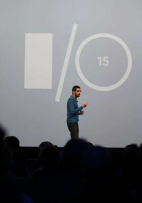 Senior Vice-President of Products, Sundar Pichai speaks to attendees during the Google I/O 2015 keynote at Moscone West on Thursday, May 28, 2015 in San Francisco, Calif. Photo: Lea Suzuki, The Chronicle