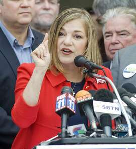 California Rep. Loretta Sanchez, D-Santa Ana, announces her candidacy for U.S. Senate during a news conference, Thursday, May 14, 2015, at the Santa Ana Regional Transportation Center in Santa Ana, Calif. The announcement in her home district in Orange County will dramatically reshape a 2016 race that was developing into a runaway for state Attorney General Kamala Harris, another Democrat who has had the Senate field virtually to herself for months.  (Sam Gangwer/The Orange County Register via AP)   MAGS OUT; LOS ANGELES TIMES OUT; MANDATORY CREDIT