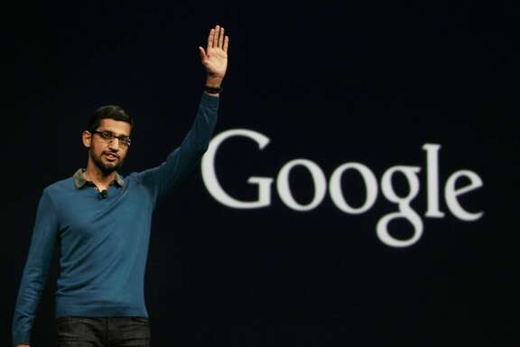 Senior Vice-President of Products, Sundar Pichai waves to the key note room at the end of the Google I/O 2015 keynote at Moscone West on Thursday, May 28, 2015 in San Francisco, Calif.