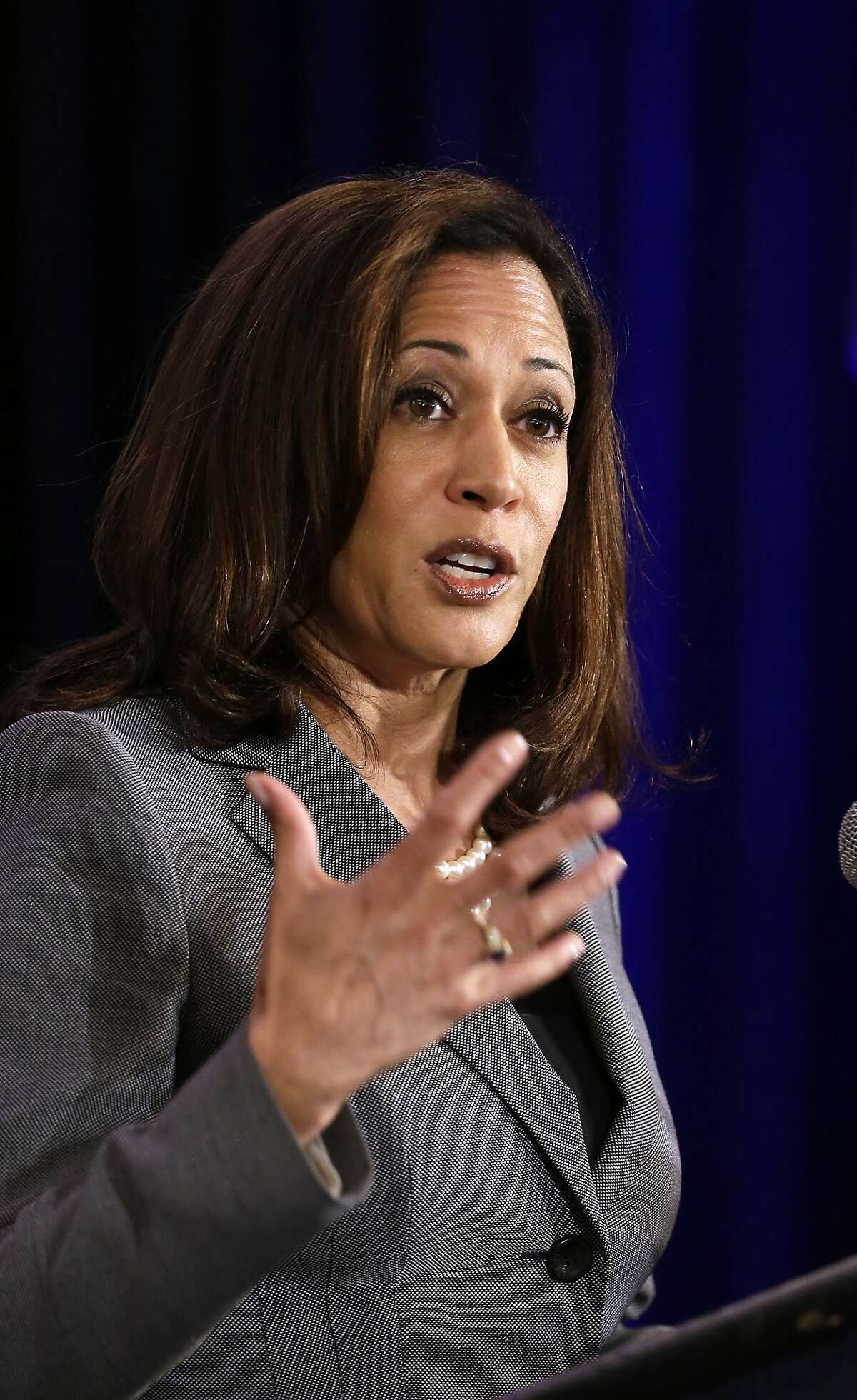 California Attorney General Kamala Harris addresses the California Chamber Capitol Summit in Sacramento, Calif., Wednesday, May 27, 2015.(AP Photo/Rich Pedroncelli)
