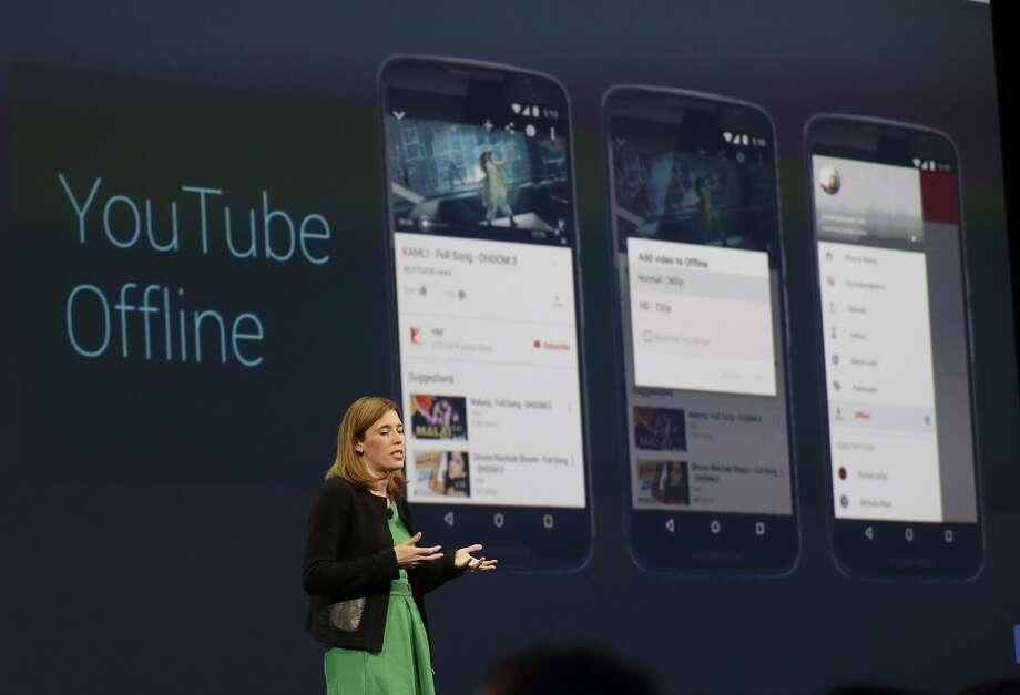 Google executive Jen Fitzpatrick speaks during the Google I/O 2015 keynote presentation in San Francisco, Thursday, May 28, 2015. (AP Photo/Jeff Chiu) Photo: Associated Press